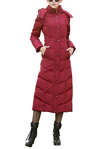 - Gihuo Women's Long Slim Quilted Down Puffer Coat Thicker Down Hooded Parkas (Burgundy, Large)