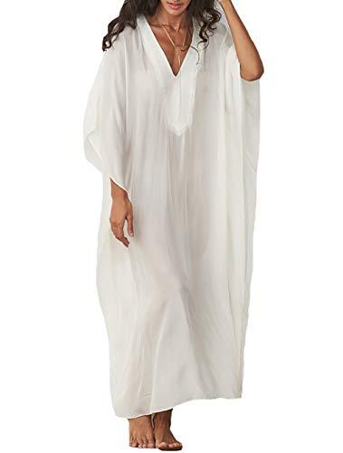(MeiLing Bestyyou Women's Print Kaftan Nightgown Long Caftans Beach Maxi Dress Bikini Swimsuit Bathing Suit Cover Up Swimwear (White D))