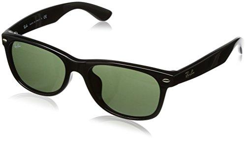 RAY-BAN RB2132F New Wayfarer Asian Fit Sunglasses, Black/Green, 55 mm (Ray Ban Aviator Lenses Glass Or Plastic)