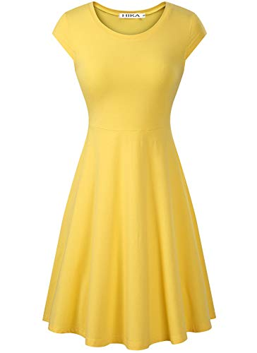 HIKA Women's Casual Elegant A Line Short Cap Sleeve Round Neck Dress (X-Large, Yellow)