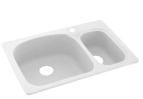 Swanstone KSLS-3322.010 33-Inch by 22-Inch Large/Small Bowl Kitchen Sink, White