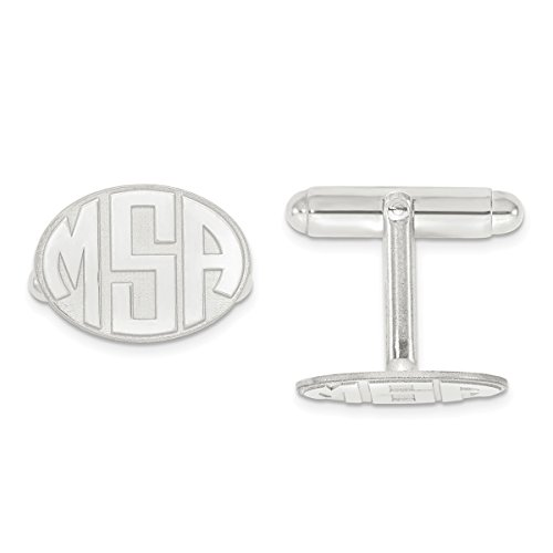 Roy Rose Jewelry Sterling Silver Raised Letters Oval Monogram Cuff Links - Personalized Custom Made (Cufflinks Personalized Sterling Oval Silver)