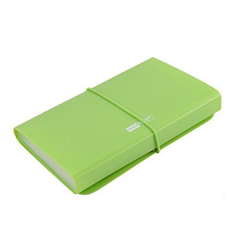 EbuyChX PVC Cover Elastic Drawstring 12 Pockets A6 Size Paper File Organizer Light Green