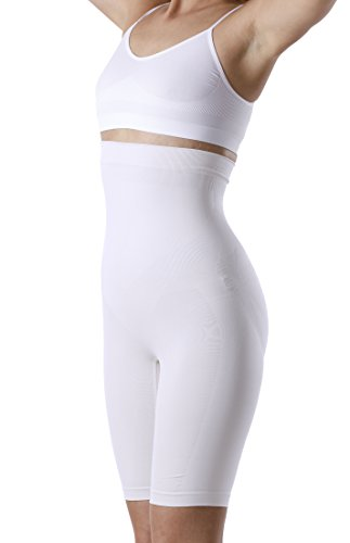 YENITA Women's Shapewear, High-Waist Long Leg Thigh Slimmer, Tummy Control (M, White)