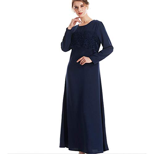 Riverdalin Women Maxi Dress Fashion Muslim Long Sleeve Lace Patchwork Arab Kaftan Islamic Cocktail Party (M, ()