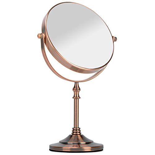 Double-Sided Makeup Mirror Desktop Vanity Mirror Metal Vanity Mirror, HD, Multi-Angle Rotation FKYGDQ (Color : A, Size : - Angle Mirror Welded Frame