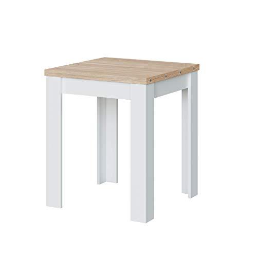 Habitdesign Mesa Auxiliar Extensible, Mesa Cocina, Acabado en Color Blanco Artik y Roble Canadian, Modelo Livre, Medidas 67-134 cm (Ancho) x 67 cm (Fondo) x 79 cm (Alto)