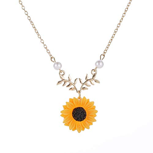 Sinfu Necklaces,Women Yellow Gold Plated Delicate Sunflower Leaf Branch Pearl Bead Charm Pendant Long Necklace Jewelry (Gold)