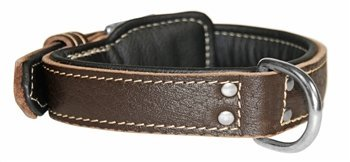 Dean & Tyler  Italian Tailor Brown Dog Collar with Black Padding and Chrome Plated Steel Hardware, Size 28-Inch by 1-1 2-Inch, Fits Neck 26-Inch to 30-Inch
