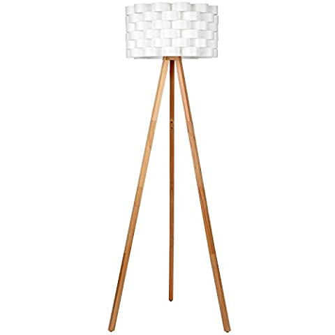 Brightech – Bijou Tripod Floor Lamp – Contemporary Design for Modern Living Rooms – Soft Ambient Lighting – Made with Natural Wood - Natural Color - Hubbardton Forge Bronze Floor Lamp