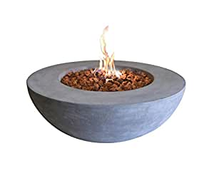 Elementi Outdoor Lunar Fire Bowl 42 Inches Grey Durable Fire Pit Table Glass Reinforced Concrete Round Fire Table Natural Gas Patio Fire Place Electronic Ignition Lava Rock Included