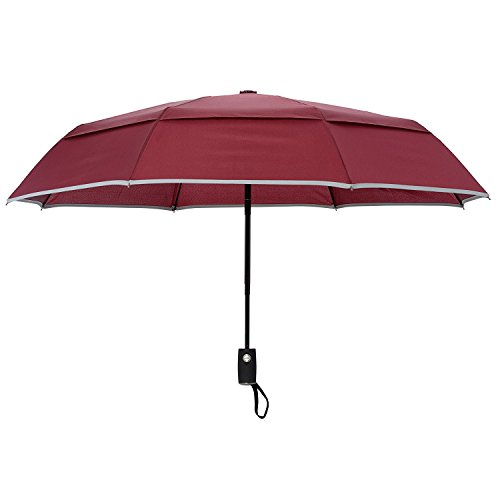 Arcadia One Light (Arcadia Outdoors Vented Double Canopy Wind Resistant Travel Umbrella with Reflective Edge -Burgundy Auto Open/Close)
