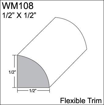 "Flexible Moulding - Flexible Quarter Round Moulding - WM108 - 1/2"" X 1/2"" - 8' Length - Flexible Trim from Resinart East, Inc"