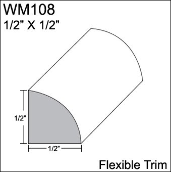 Insta Trim - Flexible Moulding - Flexible Quarter Round Moulding - WM108 - 1/2
