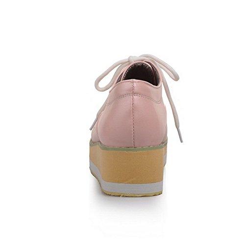 Allhqfashion Donna Materiale Morbido Tacco Chiuso Tacco Alto Con Ganci-scarpe Con Nodo Rosa