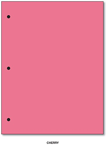 3 Hole Color Paper 8 1/2 X 11 - 100 Papers Per Pack (Cherry) by S Superfine Printing