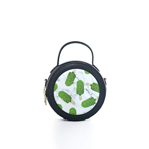 Fashion Microfiber&cowhide Zipper Round Packet Green Ice Cream Girl Color Sweet Print One Shoulder Cross-body Bags Handbag Small Round Wallet Circle Purse Clutch