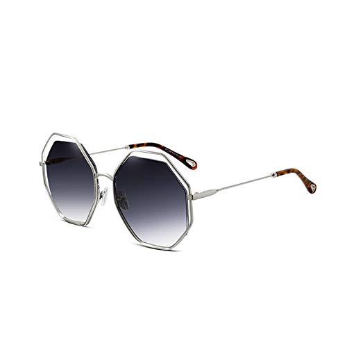 Coréenne Sunglasses Polygon Uv Nouvelle Fashion Protection Powder Métal Personnalité Lunettes Gray Générique Femmes De Soleil Frame Mode Rue couleur qAtBdqWpn