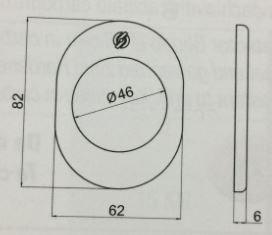 Kit limitatore per porte blindate finitura cromo satinata F1 KIT 5030 BARIKF1 con pomello a mezzaluna completo di rosetta da mm.46 piastrina cod.4300 mm.82x62