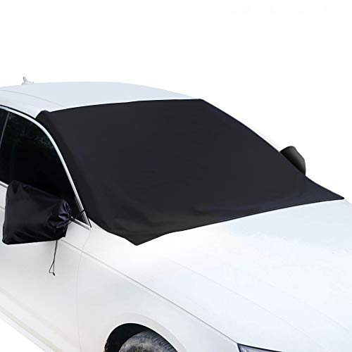 QZYL Windshield Snow Cover - Magnetic Car Snow Ice Cover Waterproof Windshield Protector Cover Snow Ice Frost Guard with Mirror Cover for Auto Cars Trucks Vans and SUVs