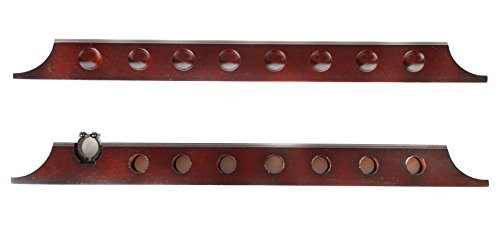 - 7 Cue 1 Bridge Pool Table Billiard Wall Rack, Mahogany Finish