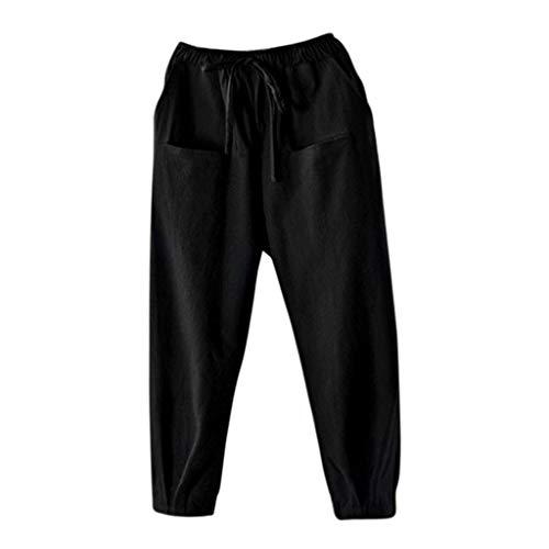 - Fashion Vintage Cotton Harem Pants Women Elastic Waist Loose Casual Pants Black