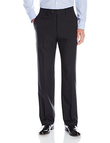 Haggar Men's Expandomatic Stretch Classic Fit Plain Front Dress Pant, Black, 42x30