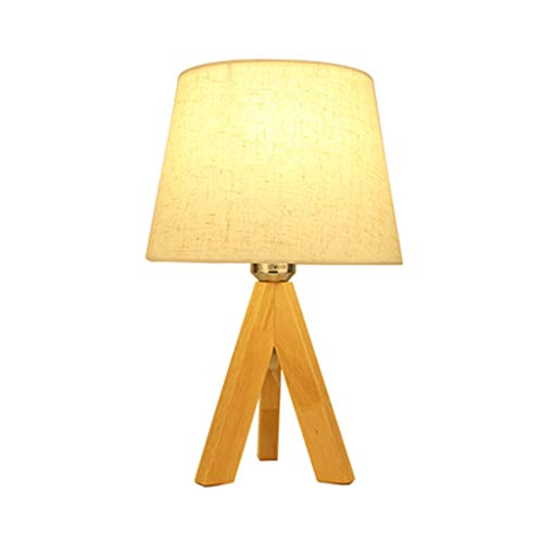 Simple Solid Wood Table Lamp, Handmade Fabric Lampshade + Hand Polished Rubber Wood Lamp Body E27 Lamp Button Switch Table Lamp, Living Room Bedroom Study Light (Lampenschirm Mit Kleinen Loch)