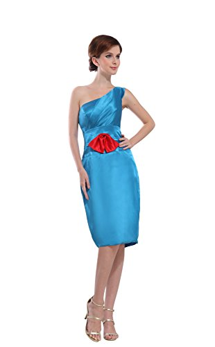 Vogue007 Womens One Shoulder Charmeuse Pongee Formal Dress with Bow, ColorCards, 16 by Unknown