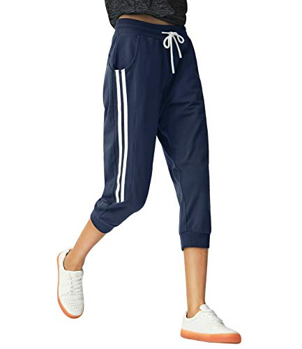 SPECIALMAGIC Sports Capri for Women Sweatpants Cropped Yoga Pants Running Joggers for Gym Daily
