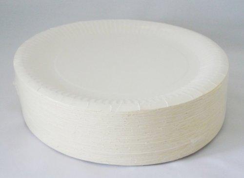 100 Partyteller / Pappteller / Wegwerfteller / Einwegteller, weiß, Durchmesser ca. 23 cm