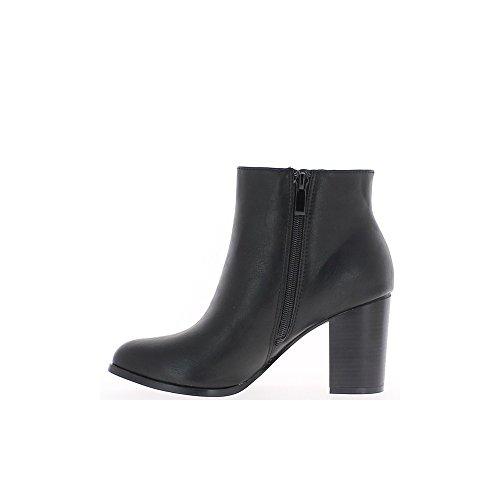 8cm tacones redondo con consejos Negro gruesos botas de XaWtRw