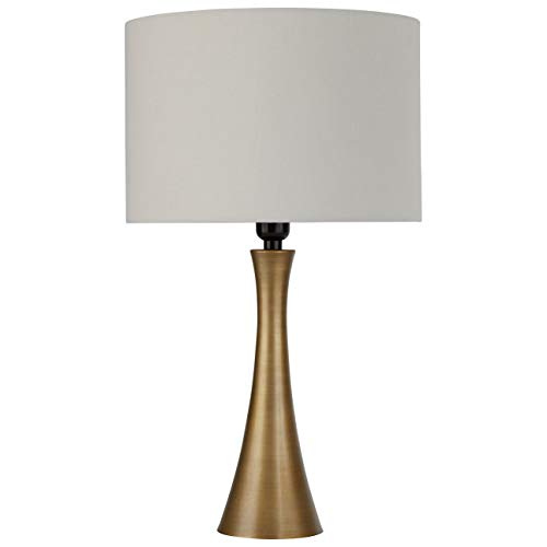 Rivet Mid Century Modern Needle Sloped Table Desk Lamp With Light Bulb and White Drum Shade - 12 x 12 x 21 Inches, Brass (Inch Shade 21 Lamp)