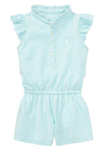 Ralph Lauren Baby Girl Flutter-Sleeve Mesh Romper (3 Months, Crystal ()