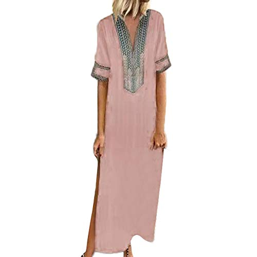 〓Londony〓 Women's Boho Split Tie-Waist Vintage Print Maxi Dress Bohemian Floral Printed Wrap Beach Party Maxi Dress Pink ()