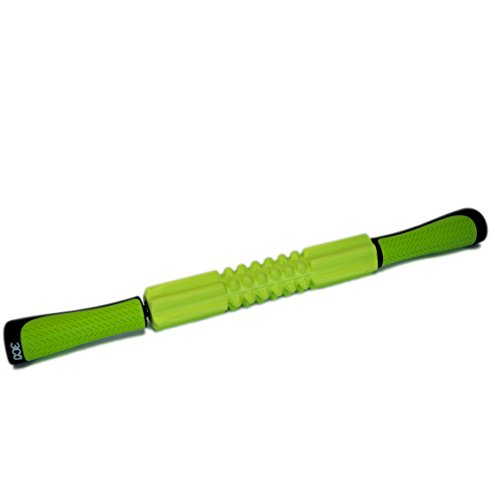 3coFit Muscle Roller Massage Stick in Green Color. Self Myofascial Release Tool for Pressure Points, Sore Muscles, and Pain Relief, Physical Therapy, Yoga, or any Workout