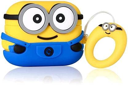 Liddu Trendy Cartoon Protective Case Skin Cover with Key Chain Clasp Shock Proof Anti Slip Case for Apple Airpods (Airpod 1 Or 2, Two Eye)