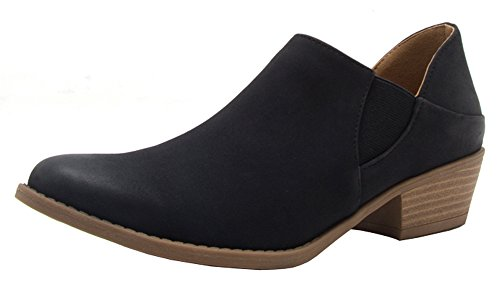 Women's Qupid Closed Bootie Stacked Almond Heel Black Chunky Ankle Mid Toe Western HHT7wxr