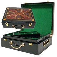 Deluxe High Gloss Wooden 500 Chip Poker Case by Poker