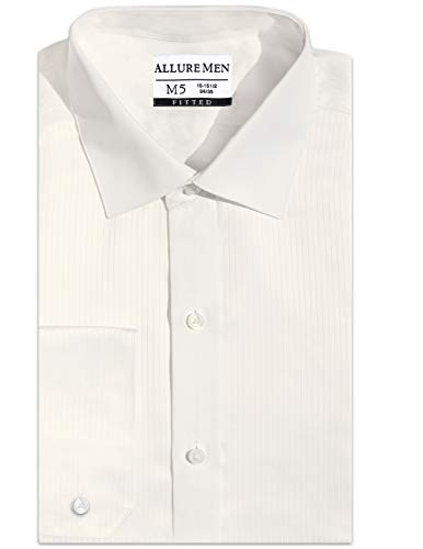Allure Men Fitted Spread-Collar Swiss Pleated Dress Shirt, Spread Collar, Luxe Microfiber