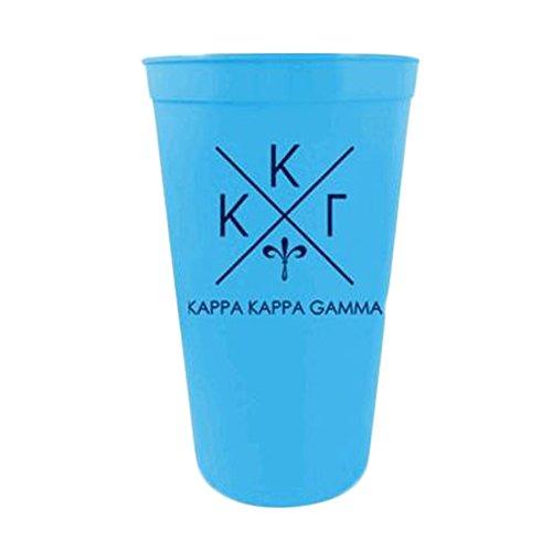 Greekgear Kappa Kappa Gamma Blue Plastic Stadium Cups, Set of 6 ? Officially Greek Licensed Plastic Cups, 22-Ounce Size