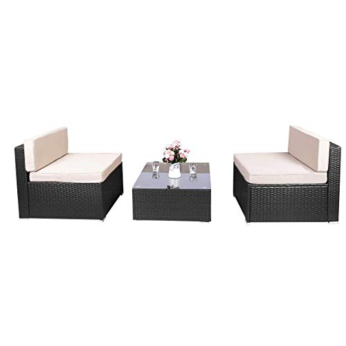 Aclumsy 3 Piece Outdoor Patio Furniture Sets PE Rattan Conversation Sofa Set Sectional Wicker Chair with Cushions and Tea Table Black