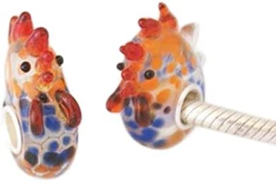 Rooster Chicken Murano Glass .925 Sterling Silver European Bead Charm Hen