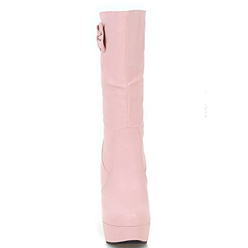 COOLCEPT Women Fashion Mid Calf Slouch Boots High Heel With Bowknot Pink OHWlqYe