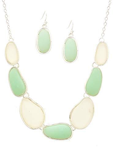 "ICON Translucent Frosted White Light Mint Sea Foam Green Glass & Silver-Tone Bib Necklace w/Earrings 18"" Long"