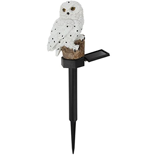 Trenton Gifts Weather Resistant Outdoor LED Solar Owl Light, Garden Stake | White ()