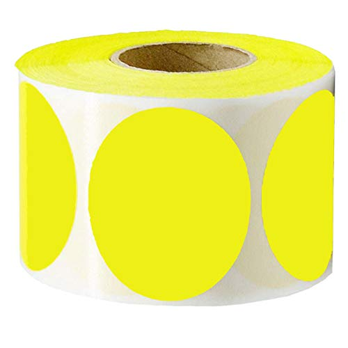 Remarkable 2 Round Color - Coding Dot Labels | Fluorescent Yellow Circle Dot Stickers | 500 Permanent Self-Adhesive Blank Stickers for Moving,Storage,Organizing