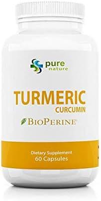 Turmeric Curcumin PureNature 100% Pure Curcumin Extract (Standardized to 95% Curcuminoids) 1,300mg 60 Capsules