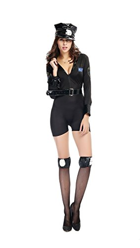[Bulacker Black Jumpsuits Cop Role Play Costume Set,Black,One size] (Cute Easy Group Costumes Ideas)