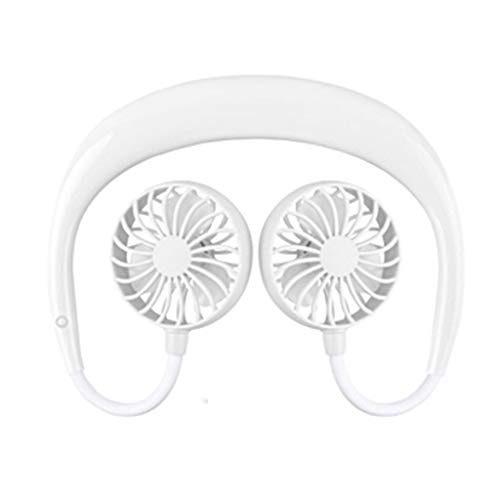 ❤SU&YU❤ Portable USB Rechargeable Neckband Lazy Neck Hanging Style Dual Cooling Fan (White)